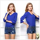 Fashion Womens Summer Casual Chiffon V-Neck Tops Long Sleeve Shirt Blouse Blue