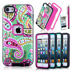 For iPod Touch 5 5th Gen Hard Soft Rubber High Impact Armor Case Cover Hybrid