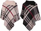 Womens Check Print Ladies Stretch Knitted Collared Cape Shawl Jumper Poncho Top