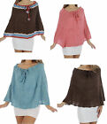 Womens Girls Ruana Poncho Shawl Wrap Coral Blue Brown Multi One Size NEW