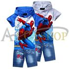 New Spider Man Clothes Kids Boys Outfits Sets Hooded Top T-Shirt+ Jeans Shorts