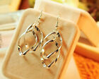BEST PRICE 925 Sterling Silver 14K Gold Plated Twisted Earrings UK EW