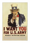 Uncle Sam I Want You - Classic WWI Version - Reproduction US Propaganda Poster