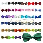 MENS SOLID PLAIN BOW TIE PRE-TIED MEN'S BOWTIE WEDDING FORMAL TIES