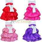 NEW Kids Girls Pageant Cute Princess Bow Skirt Tutu Party Wedding Dress Size 2-8
