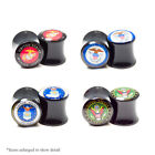 Ear Plugs Gauges Pair U.S. Military Logo Print Black Acrylic Saddle Fit 6 Sizes