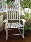 TRADITIONAL FARMHOUSE WHITE WOODEN ROCKING CHAIR LIVING BED ROOM CONSERVATORY