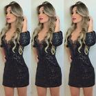Sexy Women Lace V Neck Evening Bandage Bodycon Slim Party Cocktail Mini Dress