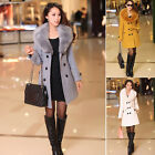 BEST PRICE Women's Fox Fur Collar Long Coat Woolen Winter Warm Thick Jacket UKEW