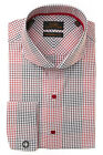 Steven Land Red Blue Houndstooth Check Modern Fit Dress Shirt DM1265