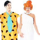 Fred + Wilma The Flintstones Fancy Dress Couple Carton Mens Ladies Costume