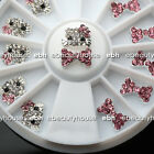 3D Nail Art Deco Hello Kitty Bow Alloy Jewelry Glitter Rhinestone+Wheel #EB005