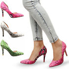 Womens ladies casual mid heel open side pointed toe snake print court shoes size