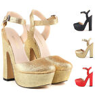 2015 FASHION WOMENS FAUX GLITTER LEATHER PLATFORM HIGH HEEL COURT SHOES SIZE 2-9