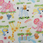 per 1/2 metre / FQ ANIMAL PLAYTIME white craft fabric 100% COTTON