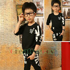 Kids Toddlers Boys Letter Skull Casual Sports Cotton Tops T-Shirt Pants Sets New