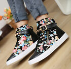 high top sneakers Floral printed zip lace Up  spike causal School flats SHOES
