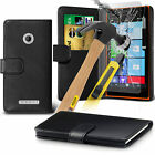 PU Leather Flip Wallet Book Case Cover & Tempered Glass For Nokia Lumia 735