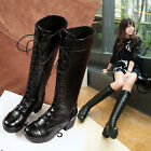 Goth Motorcycle boots womens ladies winter lace Up low heels chunky heel shoes