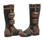 Black Brown Steampunk Womans Western Victorian Boots Utility Pockets 8 9 10 11