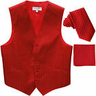 "New Men's Formal Vest Tuxedo Waistcoat 2.5"" necktie set striped wedding red"