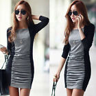 Sexy Women Casual Patchwork Long Sleeve Bodycon Party Cocktail Club Mini Dress