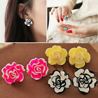 Vogue Elegant Women Lady Girls Black White Rose Flower Stud Earrings 4 Colors