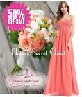 BNWT MEGAN Coral Chiffon Prom Bridesmaid Occasion Maxi Dress Sizes UK 6 - 18