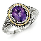 Amethyst Ring Bezel Set Sterling Silver 14K Gold Accent Size 6 - 8 Shey Couture