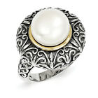 FW Pearl Ring 12mm .925 Sterling Silver w/ 14K Gold Accent Size 6-8 Shey Couture