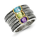 Multi Gemstone 3 Stackable Rings Sterling Silver Gold Accent Sz 6-8 Shey Couture