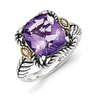 Amethyst & Diamond Ring .925 Silver & Gold Accent 0.01 Ct Sz 6 - 8 Shey Couture