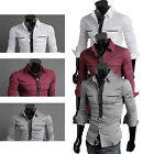 White Mens Casual/Slim Fit/Formal/Dress Shirt Long Sleeve Design New for Party