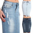 TheMogan Distressed Light Dark Bleach Washed Denim Pencil Skirt