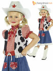 Age 4-12 Girls Cowgirl Wild West Cowboy Fancy Dress Costume Childrens Kids Party