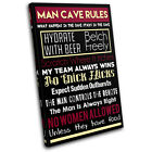 Man Cave House Rules Typography SINGLE CANVAS WALL ART Picture Print VA