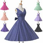 Navy Blue Vintage Retro Style 50s Polka Dot Swing Party Pinup Rockabilly Dresses