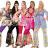 Adult Ladies Hippy Fancy Dress Costume 60s-70s Hippie Flares Top Outfit UK 6-28
