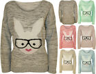 New Womens Rabbit Glasses Knitted Jumper Ladies Long Sleeve Stretch Top 8 - 14