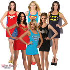 FANCY DRESS COSTUME ~ LADIES SUPERHERO DC COMICS TANK DRESS WITH CAPE SIZES 6-16