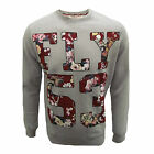 FLY 53 SWEATSHIRT DRASTIC MEASURES MENS GREY MARL FLORAL PRINT TOP UK L
