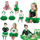 ST PATRICK DAY clover leaf shirt kelly green petal skirt tutu girl clothing 1-8Y