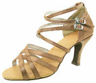 @@Marshamai #A38E Tan Latin Tango Ballroom Salsa Dance Shoes UK4.5 - UK6/3""