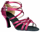 @@Marshamai #A38G Wine Latin Tango Ballroom Salsa Dance Shoes UK4.5 - UK6/3""