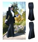 SIZES 8-30 LONG BLACK CORSET LACE UP FISHTAIL GOTHIC WHITBY WITCH VAMPIRE SKIRT