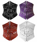 "WAIST 24-52"" STEEL BONED BLACK RED PURPLE WHITE PVC ZIP CORSET WASPIE CINCHER"