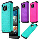 Slim Protective Bling Rugged Dual Layer Hard on Silicone Hybrid Case for HTC M9