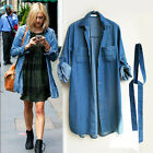 Celebrity style Soft denim relaxed fitting belted long tail shirt dress - b8