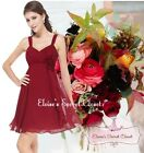BNWT FIFI Cranberry Red Chiffon Corsage Prom Evening Bridesmaid Dress UK 6 - 18