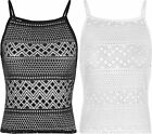 New Womens Strappy Cut Out Lace Crochet Short Cami Vest Ladies Crop Top 8-14